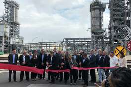 On Monday, ExxonMobil invited local officials to join executives at the plant site on the western edge of Beaumont to celebrate the opening with a tour of the new line expected to increase polyethylene production by 65%.