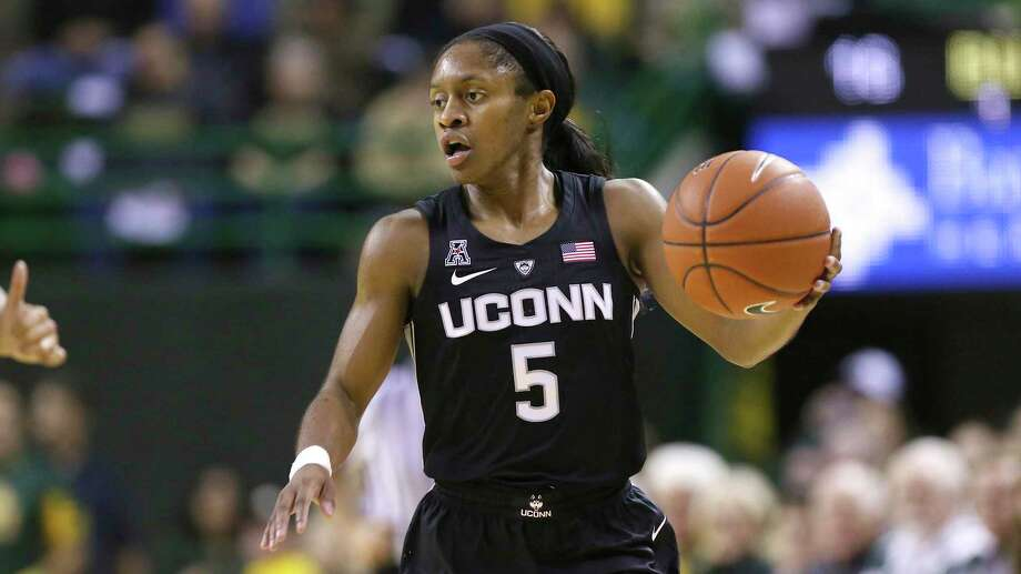 Connecticut guard Crystal Dangerfield drives up court during a UConn at Baylor NCAA basketball game on Thursday, Jan. 3, 2019, in Waco, Texas. (AP Photo/Jerry Larson) Photo: Jerry Larson / AP / 2019 The Associated Press. All rights reserved.