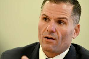 Marc Molinaro speaks to the Times Union editorial board on Wednesday, Oct. 31, 2018, in Colonie, N.Y. (Will Waldron/Times Union)
