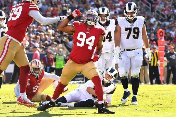 LOS ANGELES, CALIFORNIA OCTOBER 13, 2019-49ers defensive lineman Solomon Thomas (94) celebrates his sack of Rams Jared Goff in the 3rd quarter at the Coliseum Sunday. (Wally Skalij/Los Angeles Times/TNS)