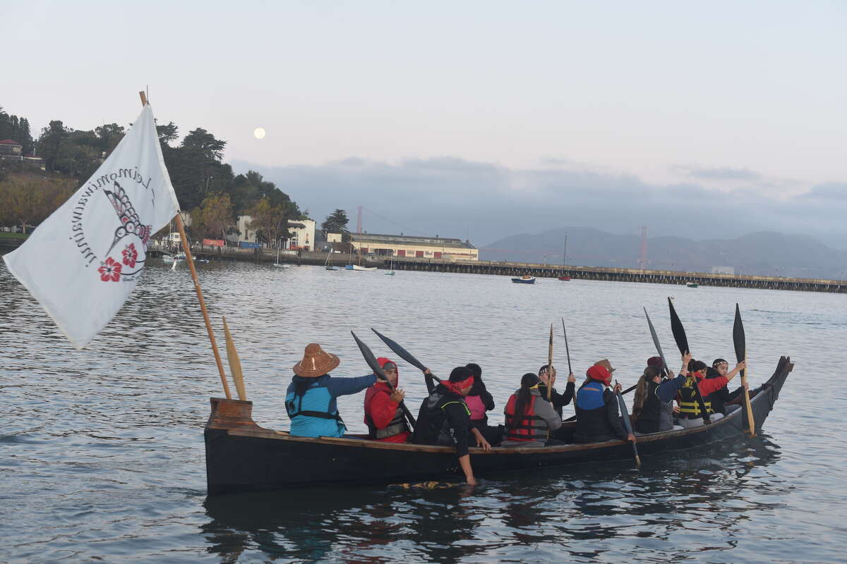 As part of the Tribal Canoe Journeys on Indigenous Peoples Day, groups of Native Americans and their allies paddled to Alcatraz.