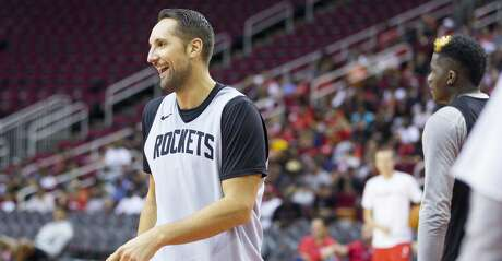 Houston Rockets forward Ryan Anderson laughs during a Houston Rockets practice open to fans at Toyota Center in Houston, Monday, Oct. 14, 2019.