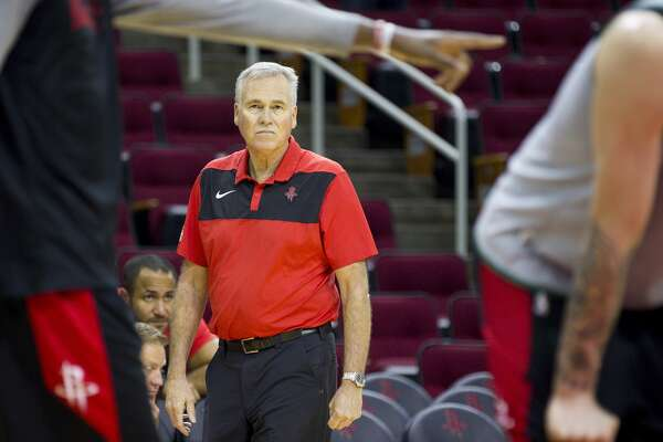 Houston Rockets head coach Mike D'Antoni watches during a Houston Rockets practice open to fans at Toyota Center in Houston, Monday, Oct. 14, 2019.