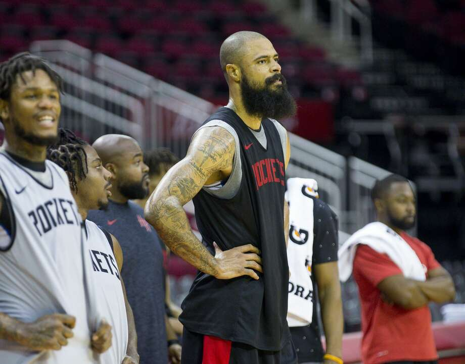Houston Rockets center Tyson Chandler watches from the sideline during a Houston Rockets practice open to fans at Toyota Center in Houston, Monday, Oct. 14, 2019. Photo: Mark Mulligan/Staff Photographer