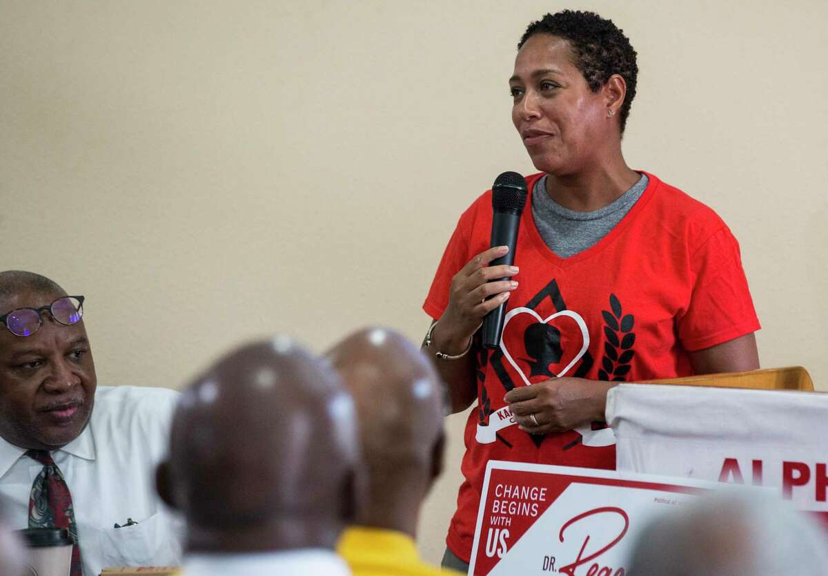 In this September file photo, Reagan Flowers speaks to members of the Houston Alumni Kappa Alpha Psi fraternity as she campaigns for a seat on the Houston ISD school board. Flowers raised about $31,000 in campaign donations as of early October, the second-most out of four candidates running to replace outgoing Trustee Jolanda Jones.