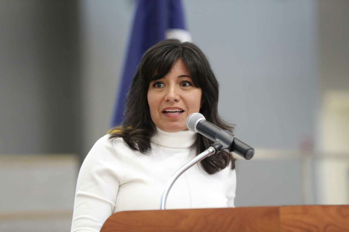 In this January file photo, Houston ISD Board President Diana Dávila attends a HISD Police Department formal swearing-in ceremony at the High School for Law and Justice Wednesday, Jan. 23, 2019, in Houston. Dávila faces challenger Judith Cruz in the Nov. 5 election.
