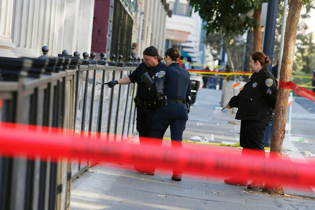 The San Francisco Police Department works on Jones Street as they investigate at the scene where a man was killed in a shooting that occurred shortly before 3 p.m. on Monday October 14, 2019 in San Francisco, Calif.