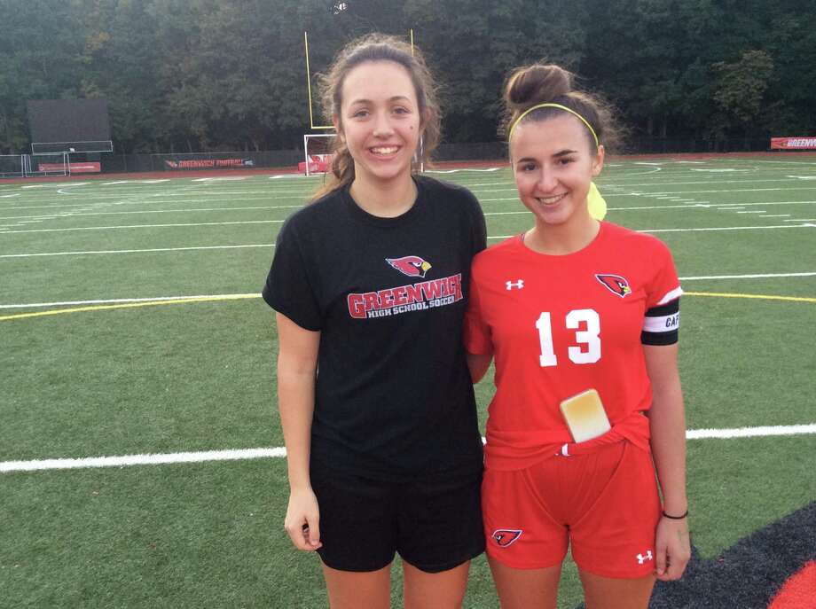 Senior captains Clay Garrett, left and Jordan Moses helped lead the Greenwich girls soccer team to a 4-0 win over Westhill on Monday, October 14, 2019. Photo: David Fierro /Hearst Connecticut Media.