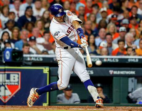 Carlos Correa connects on an RBI double that got the Astros on the board in the second inning of their Game 2 win over the Yankees.