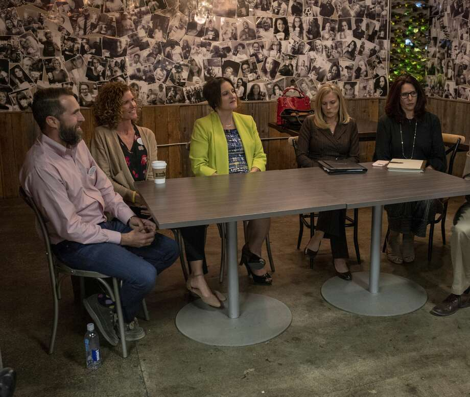 Dave Joyner, Christine Foreman, Heidi Kirk, Jennifer Langford and Sara Gonzales discuss the MISD bond Monday, Oct. 14, 2019 at Brew St. Bakery. Photo: Jacy Lewis/Reporter-Telegram