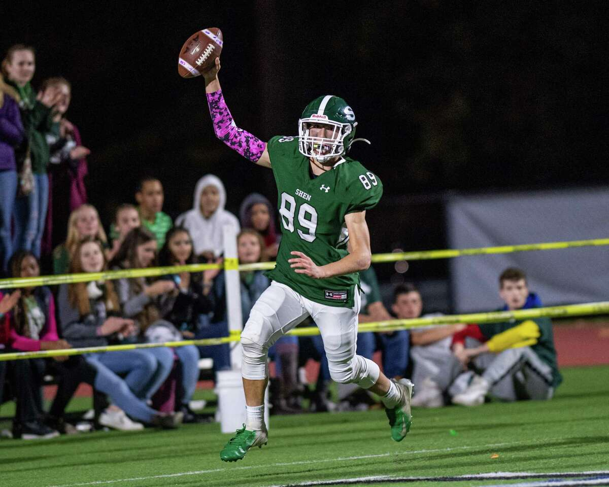 Shenendehowa'sBrandon Fahr celebrates after returning an interception for a touchdown against CBA during his sophomore season. (Jim Franco/Special to the Times Union)