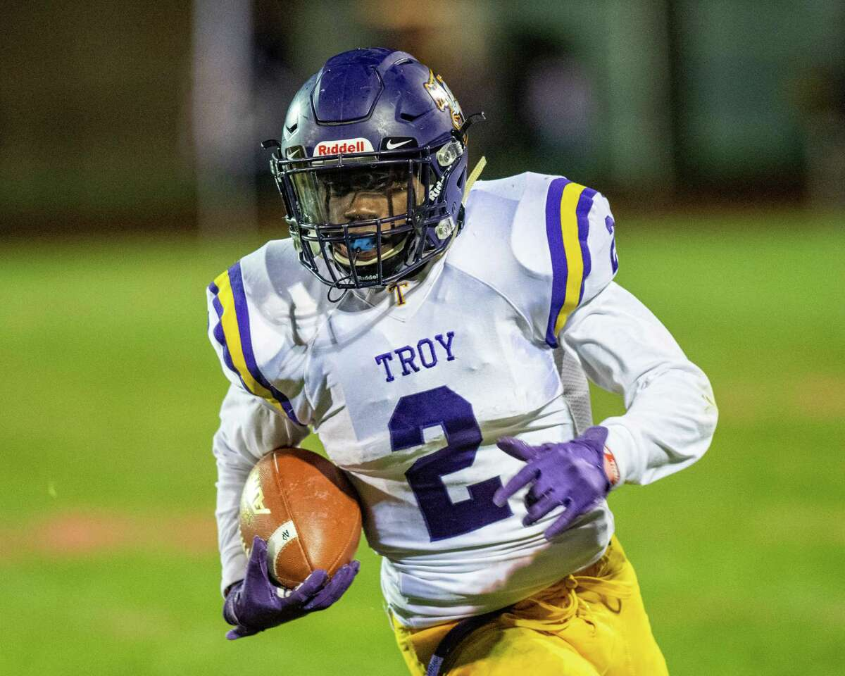 Troy running back Xavier Leigh heads picks up yardage against Averill Park during a game at Averill Park High School on Friday, Oct. 5, 2019 (Jim Franco/Special to the Times Union.)
