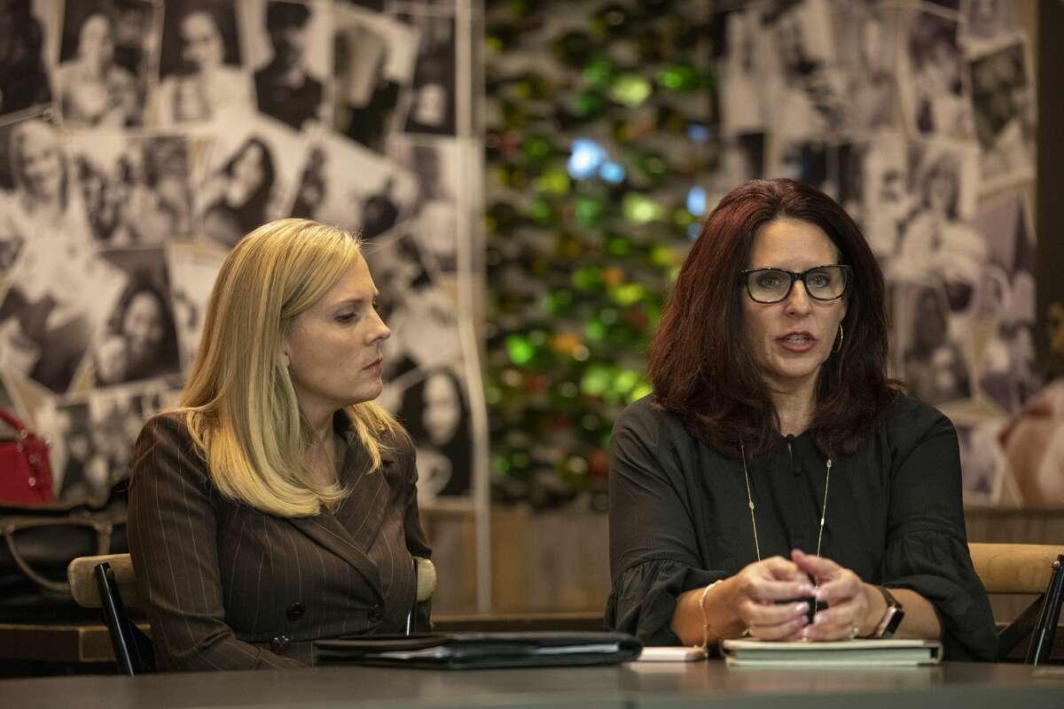 Jennifer Langford, left, and Sara Gonzales discuss the MISD bond Monday, Oct. 14, 2019 at Brew St. Bakery. Jacy Lewis/Reporter-Telegram