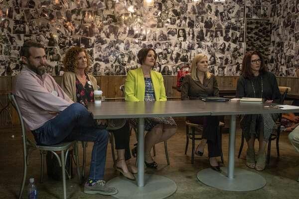 Dave Joyner, from left, Christine Foreman, Heidi Kirk, Jennifer Langford and Sara Gonzales discuss the MISD bond Monday, Oct. 14, 2019 at Brew St. Bakery. Jacy Lewis/Reporter-Telegram