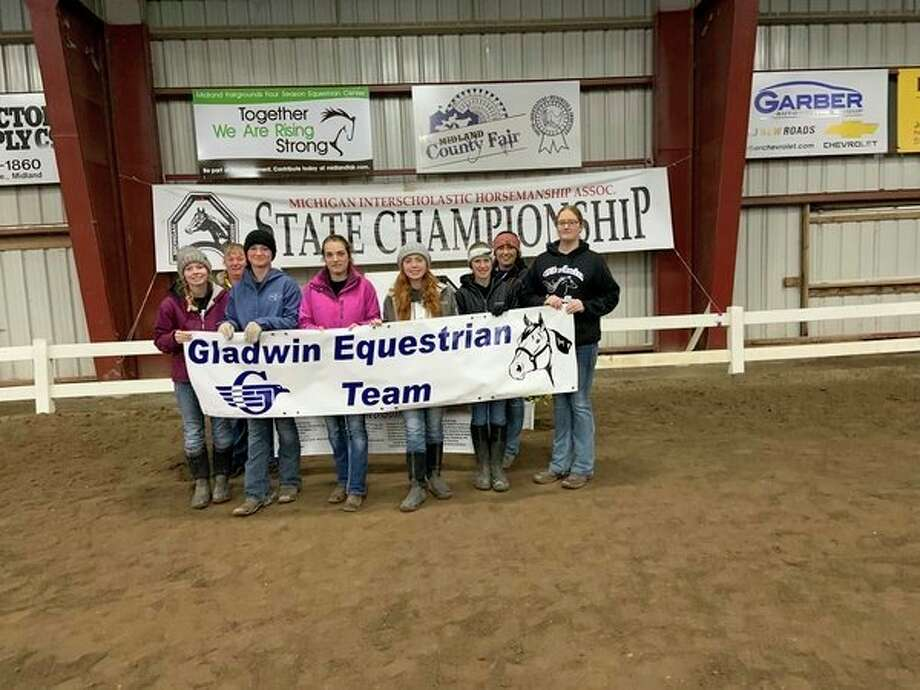 Pictured is the Gladwin equestrian team: (front row, from left) riders Chloe Bruner, Heidi Inscho, Avery Hite, Danielle Klamer, Alaina Cuddie, Hailey Kokowicz; (back row, from left) coaches Brenda Inscho and Laken Shell. Not pictured is head coach Kelley Bosman. (Photo provided)