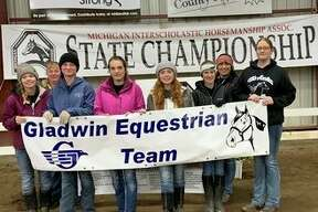 Pictured is the Gladwin equestrian team:(front row, from left) riders Chloe Bruner, Heidi Inscho, Avery Hite, Danielle Klamer, Alaina Cuddie, Hailey Kokowicz; (back row, from left)coachesBrenda Inscho and Laken Shell. Not pictured is headcoach Kelley Bosman.(Photo provided)