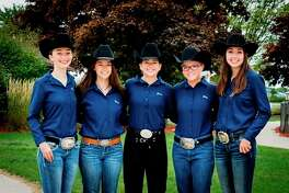 Pictured is theMeridian equestrian team: (from left) Morgan Glann, Maria Tanzini, Jenna Holzinger, Riley Warren and Cammy Ankoviak. Meridian earned reserve champion honors in the C Division at the MIHA state finals. (Photo provided)