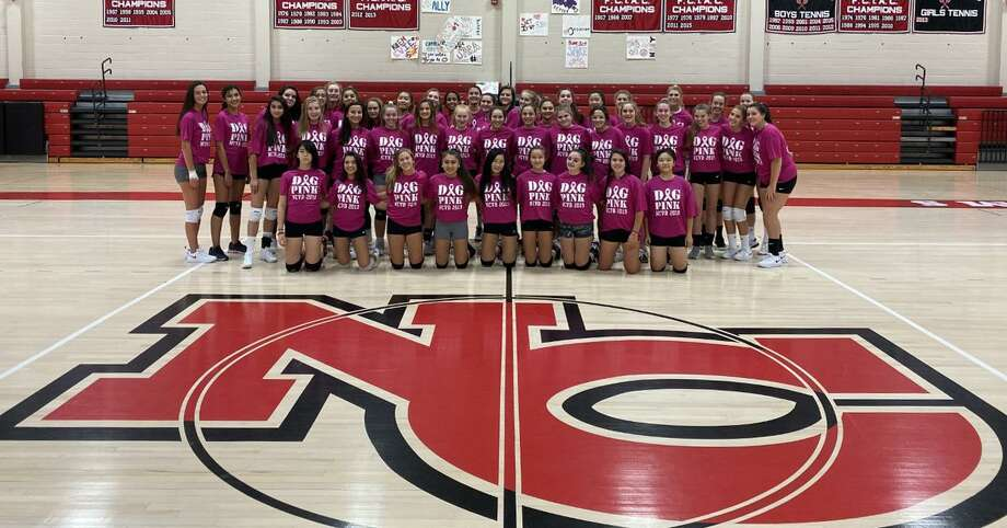 The New Canaan Rams wear their Dig Pink t-shirts in the NCHS gym. The volleyball team will be hosting a fundraiser for the Side Out Foundation, helping to raise money and awareness for the fight against breast cancer, on Tuesday, Oct. 15. Photo: Contributed / Hearst Connecticut Media / Hearst Connecticut Media