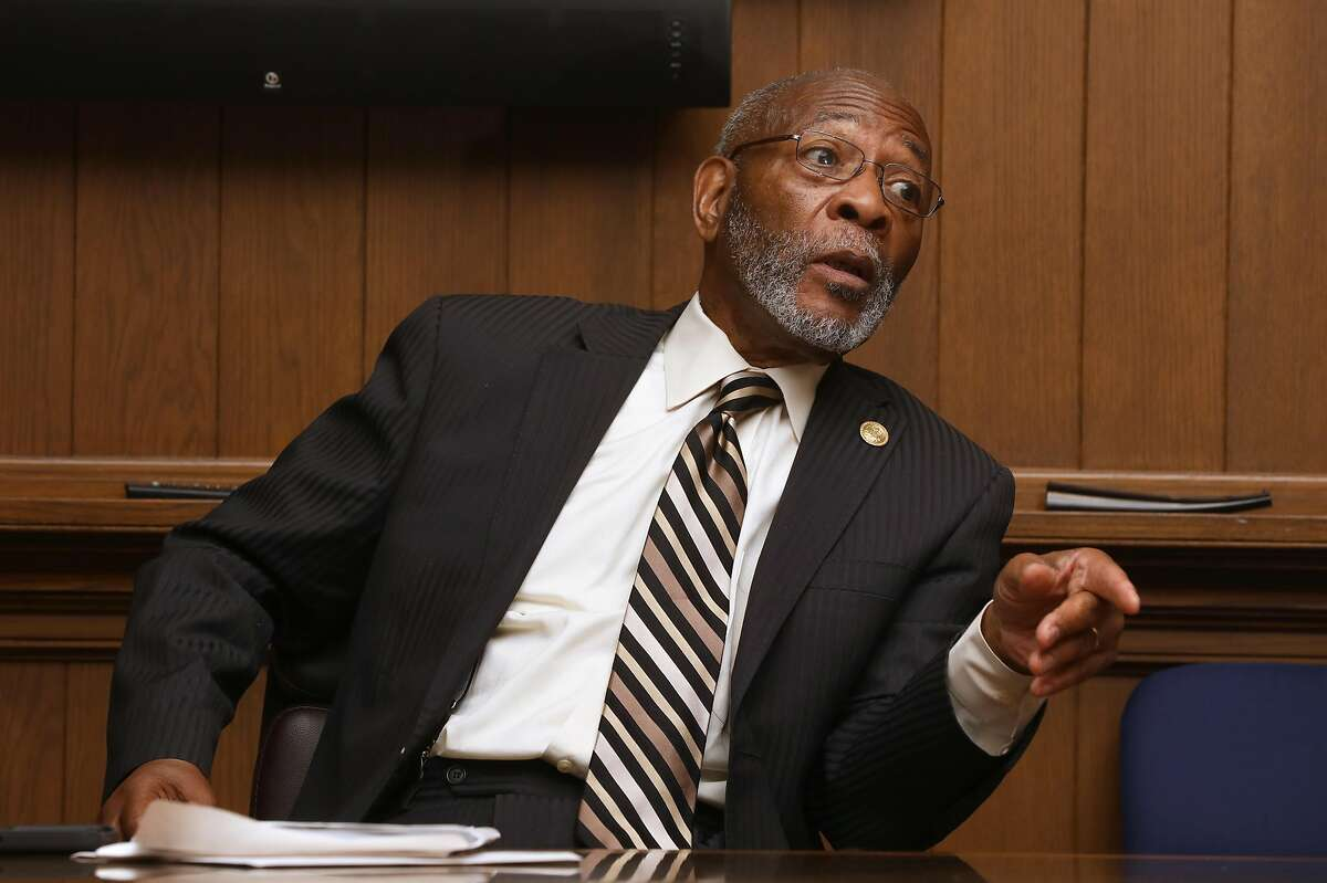 Dr. Amos C. Brown speaks to the editorial board regarding the effort to close the S.F. juvenile hall and lack of input from African American leaders on Wednesday, June 19, 2019 in San Francisco, Calif.