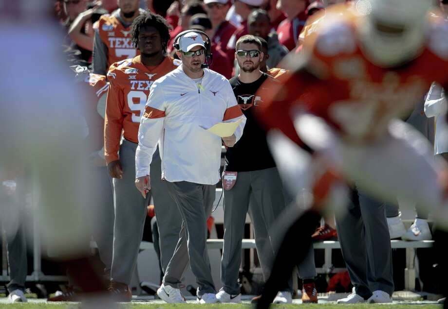 Texas coach Tom Herman dropped to 1-2 against Oklahoma in the Red River Shootout after Saturday's 34-27 setback. Photo: Nick Wagner / Associated Press / Austin American-Statesman
