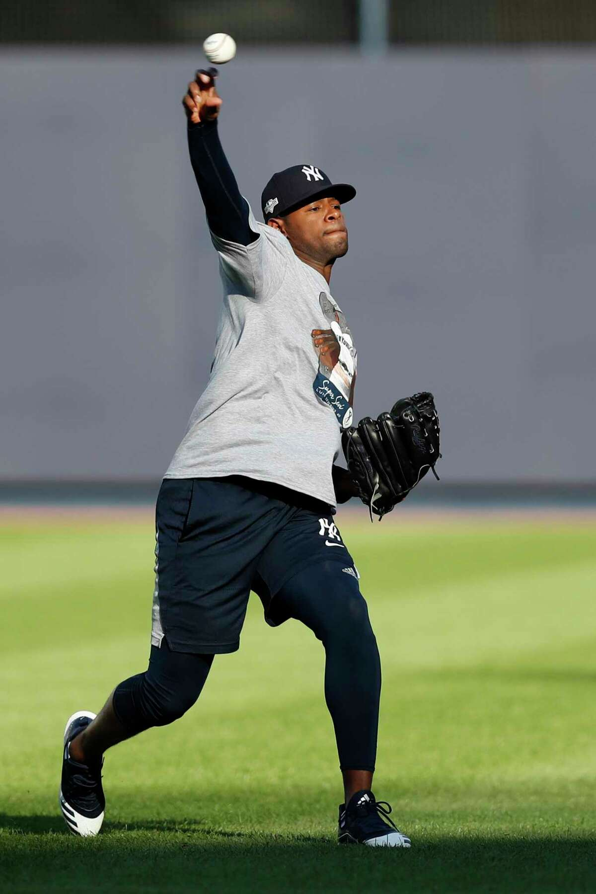 New York Yankees starting pitcher Luis Severino throws on an empty field, Monday, Oct. 14, 2019, at Yankee Stadium in New York on an off day during the American League Championship Series between the Yankees and the Houston Astros. Severino is scheduled to face Astros' ace Gerrit Cole in Game 3, scheduled for Tuesday afternoon in New York. (AP Photo/Kathy Willens)