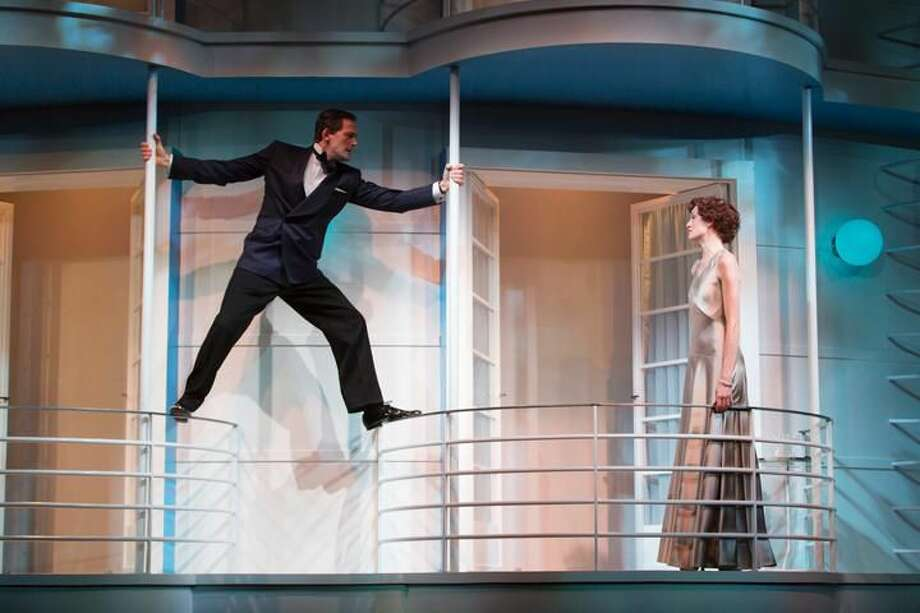 """Submitted Photo by T. Charles Erickson Ken Barnett and Rachel Pickup in """"Private Lives"""" at Hartford Stage."""