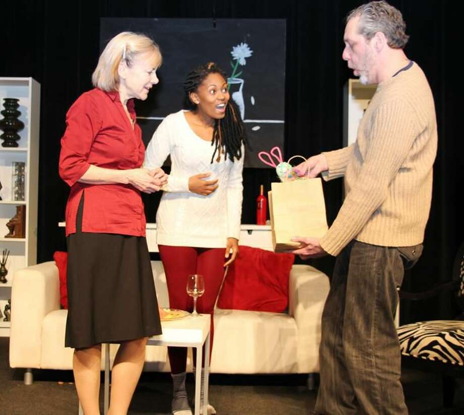 """Submitted Photo Janet Rathert, Jessica Myers, and Brian Michael Riley perform in """"Good People"""" at Square One Theatre in Stratford."""
