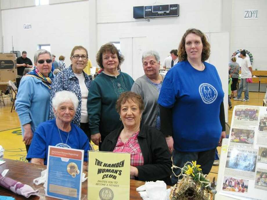 Submitted Photo Hamden Woman's Club members participated in Hamden's Earth Day celebration April 18 at Hamden Middle School. Pictured left to right, back row are: Jeanette Murdock, Carol Noble, Barbara Aurora, Carmel Storo, and Shelley Imler; front row: Sue Corvi and Pat Trenchard.