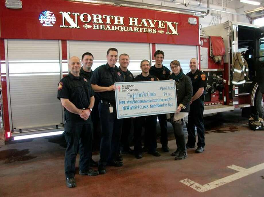 Photo by Lynn Fredricksen North Haven firefighters once again made a sizeable donation to the Lung Association of New England. Pictured here are firefighters: Jeff Haag, Tom Haggerty, Lou Criscuolo, Mike Pomichter, Ron Prisco, Christopher Spoldi and Ben Fox with Lung Association representative Danielle Ferrari. All told, their donation came to $9,165.