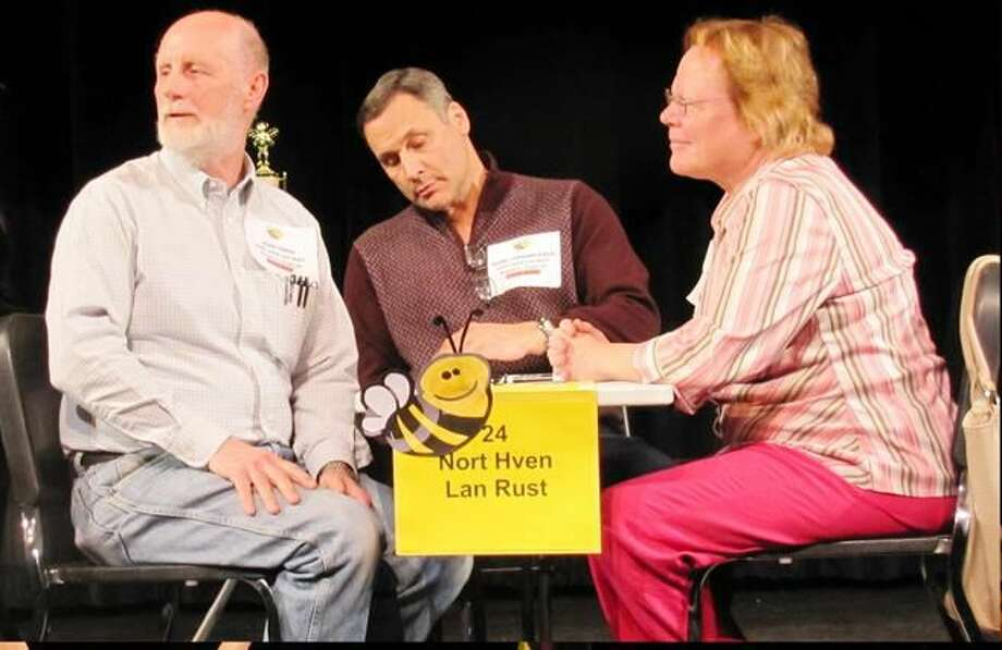 Submitted Photo The North Haven Education Foundation's first annual Adult Spelling Bee featured 35 teams. The victors, John Tibor, Mark Cofrancesco, and Heidi Boettger, pictured left to right, represented the North Haven Land Trust.