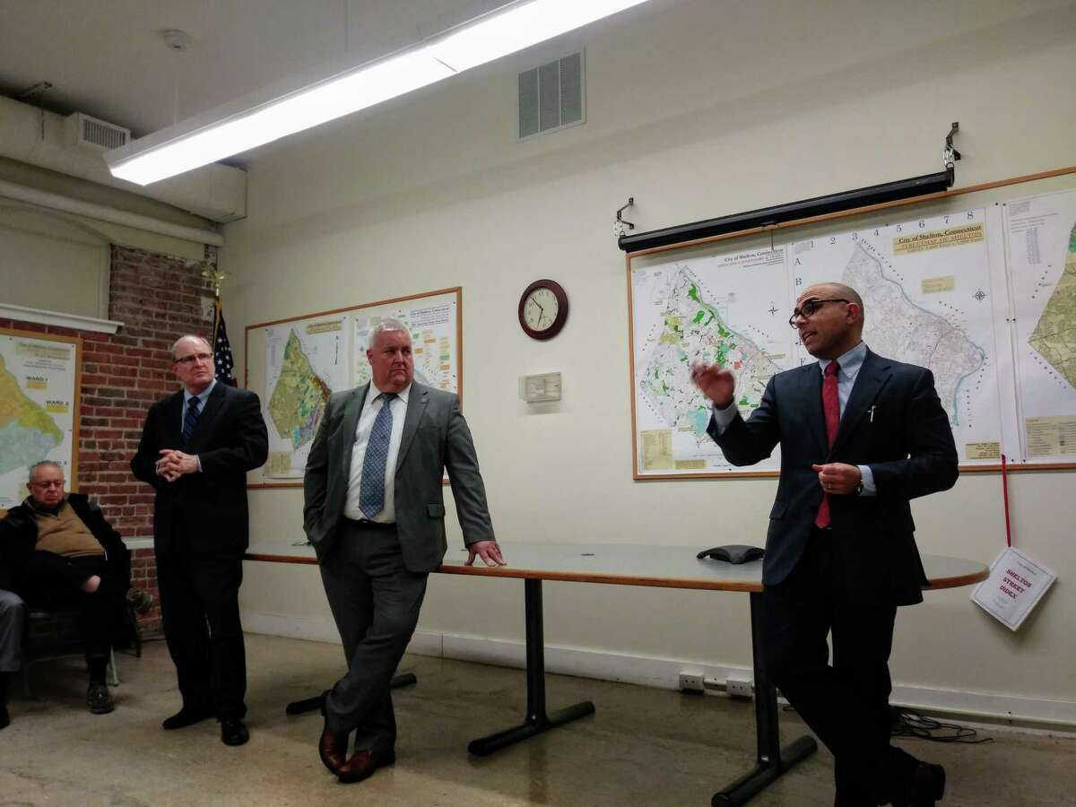 State Sen. Kevin Kelly, left, joined state Reps. Ben McGorty, center, and Jason Perillo on Feb. 25 to update residents on the latest goings on at the state Capitol.