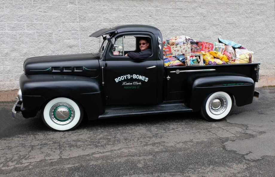 A truck full of donations from the Hot Rodders