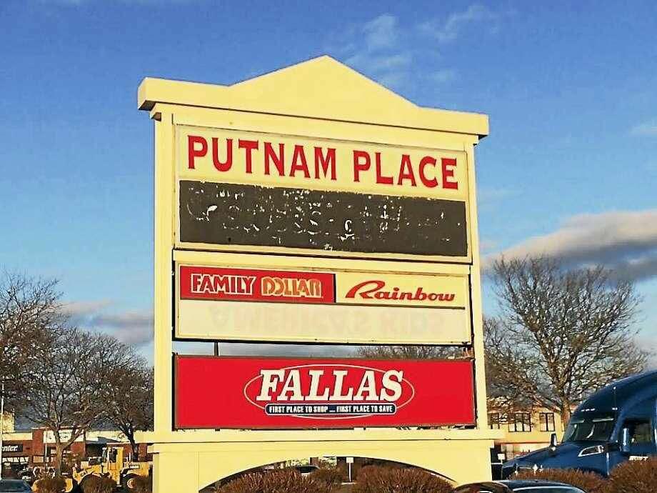 The sign for Putnam Place shopping center in Hamden.