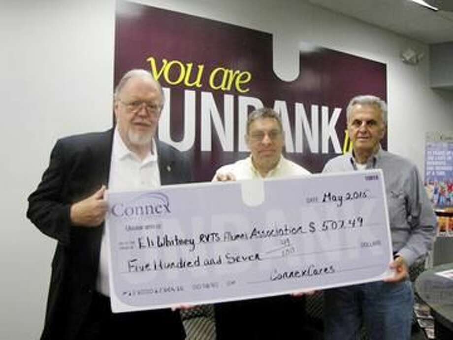 "Submitted Photo Frank Pomarico, Hamden Branch Manager, Connex Credit Union, center, presents John Alexander, president, left, and Michael Pappas, treasurer, right, of the Eli Whitney RVTS Alumni Association with a donation for $507.49. The funds were raised through Connex Credit Union's ""Coins-for-Change"" fundraising program."