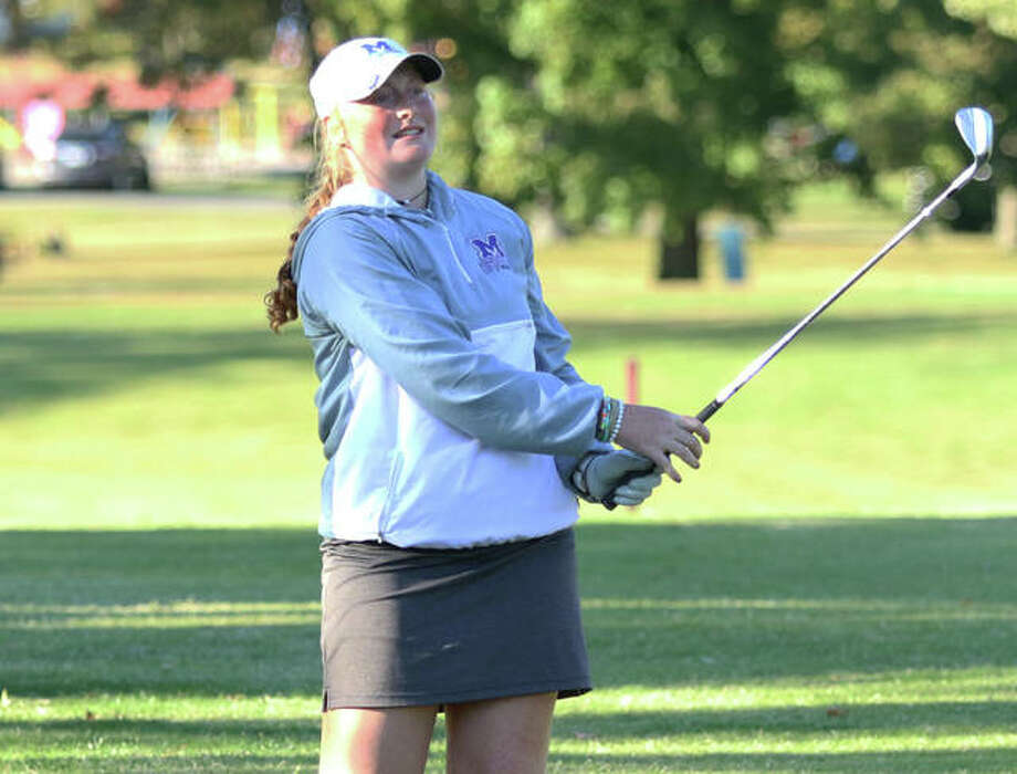 Marquette Catholic's Gracie Piar watches her shot off the tee on hole No. 18 on Monday at the Mount Carmel Class 1A Sectional at West Berwick golf course. Photo: Greg Shashack / The Telegraph