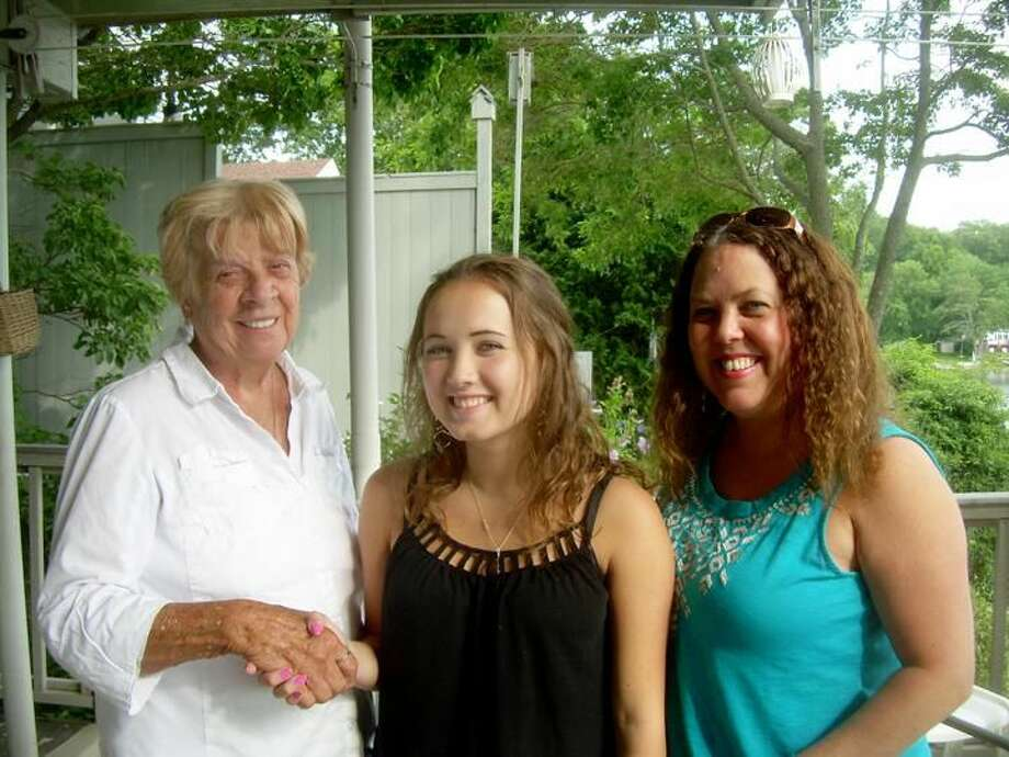 Submitted Photo From left are Hamden Lions Club member Janet Sola, scholarship recipient Courtney Quick and her mother, Donna Corcoran.