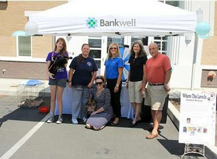 Submitted Photo Pictured left to right: Eliana Peterson, Where the Love Is volunteer; Jennifer Garofalo, The Animal Haven board member; Lucy French and Samantha Murray, of Bankwell; Linda Marino, The Animal Haven board member; and David Epstein, Hamden resident.