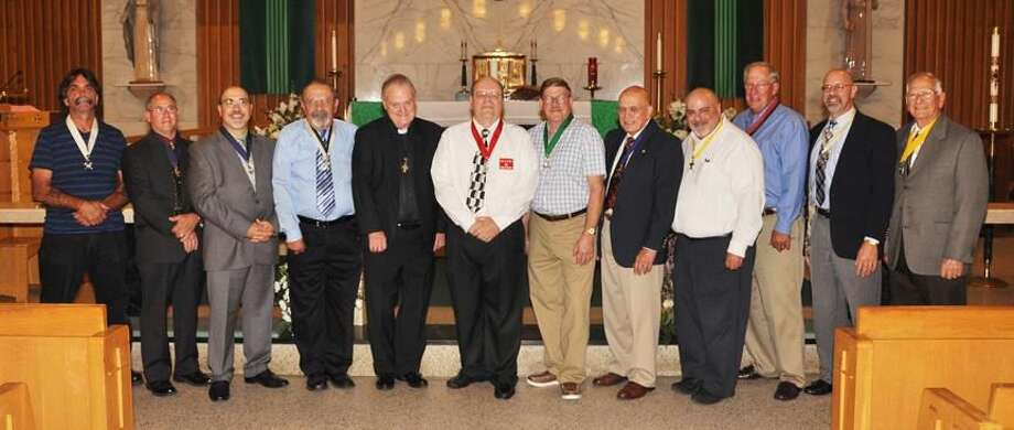 Submitted Photo Pictured in the photograph from left to right are: Inside Guard Anthony Camera, Jr., Deputy Grand Knight Pasquale Bottone, Grand Knight James Midolo, Chancellor Stuart Lyon, Sr., Chaplain Reverend Timothy Meehan, District Deputy Joseph Perrelli, Trustee Nathan Vestal, Recorder Robert Broncato, Warden Harry Bahls, Outside Guard Paul Caiafa and Advocate Lawrence Esposito. Not pictured are Financial Secretary John Rubino, Trustees William Porter and David Gianotti.