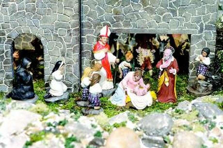 The nativity scene in Sacred Heart Academy's creche is set atop Mount Carmel in present day Hamden.