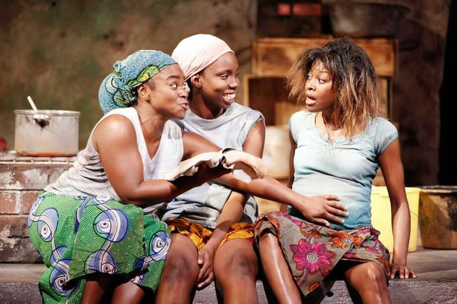 """Photo by Carol Rosegg Stacey Sargeant, Adepero Oduye, and Pascale Armand in """"Eclipsed"""" by Danai Gurira, directed by Liesl Tommy, at Yale Repertory Theatre."""