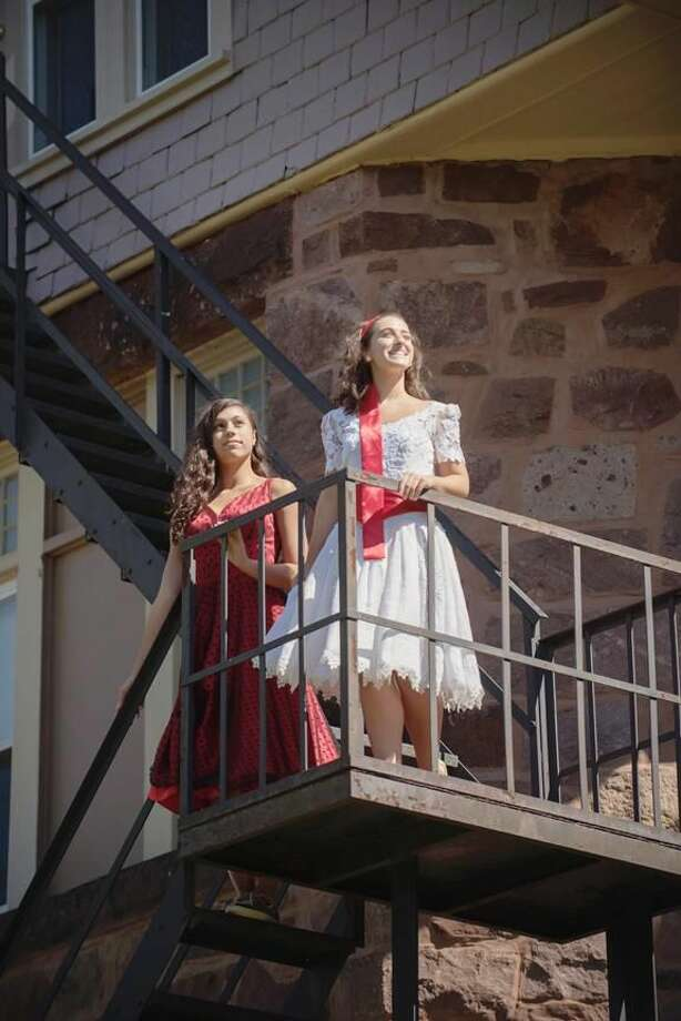 "Submitted Article Leads Lauren Celentano as Anita and Rose Iannacone as Maria practice for Sacred Heart Academy's upcoming production of ""West Side Story"" on the Shubert stage!"