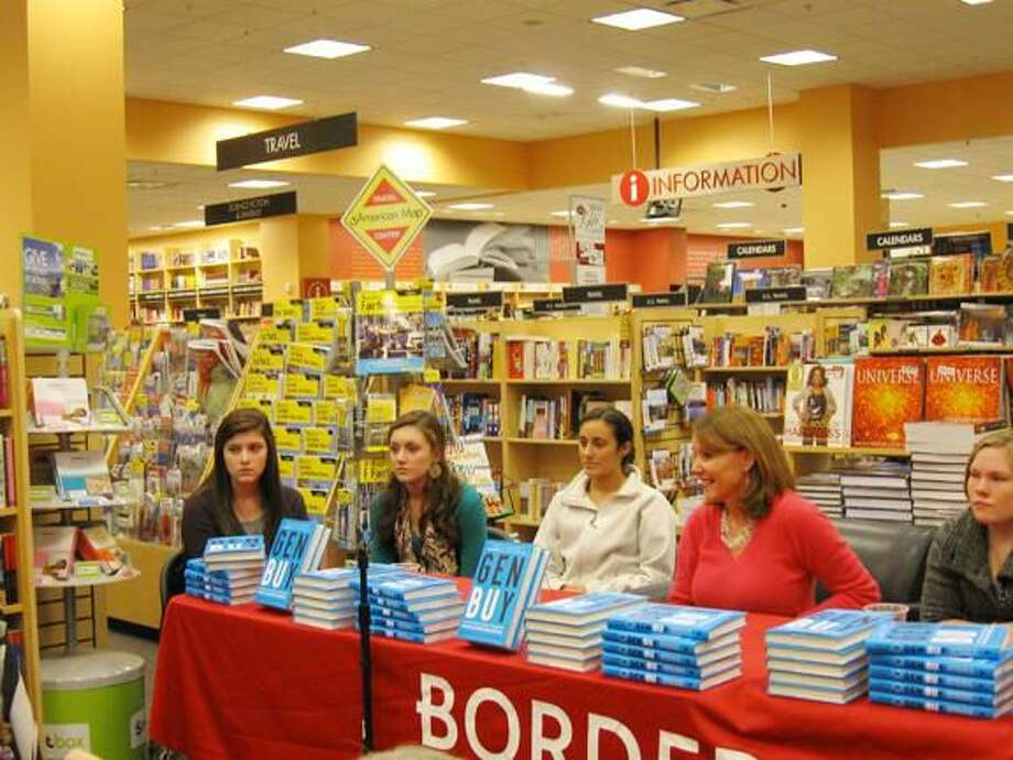 """Submitted Photo Author, USA TODAY business reporter and Hamden High School graduate Jayne O'Donnell appeared at the Borders in Milford Saturday, Nov. 14, for a talk and panel discussion with local teens about her new book, """"Gen BuY."""" From left, Madeline Kerins of Madison, Kelsey Handelman of Madison, Lydia Derienzo of Cheshire, O'Donnell, and Theresa Fay of Hamden. The teens discussed why they like - or love - to shop, their favorite stores and brands and what they want for the holidays."""