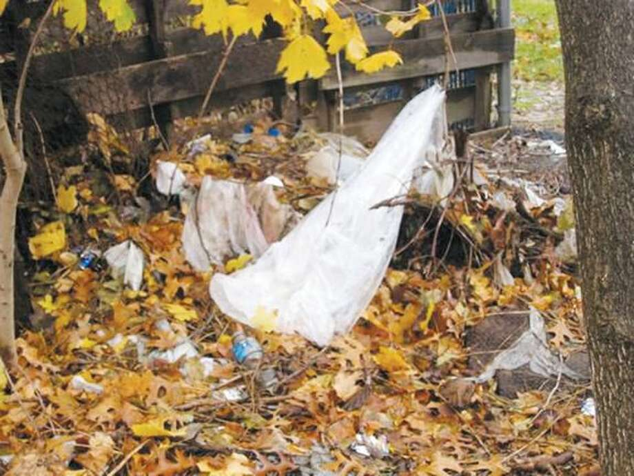 Submitted Photo Debris at the beginning of the Farmington Canal Trail at Putnam Avenue going towards New Haven.