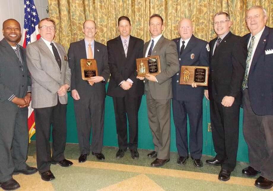 Shown at the ceremony are, left to right: Mayor Scott Jackson, Hamden Lodge President Alton Hudson, Citizen of the Year Daniel Levy, Police Chief Thomas Wydra, Police Officer of the Year Michael Doherty, Firefighter of the Year Kevin A. Martin, Fire Chief David Berardesca, with Hamden Lodge and CT Elks Association Past President Phil Wilson.
