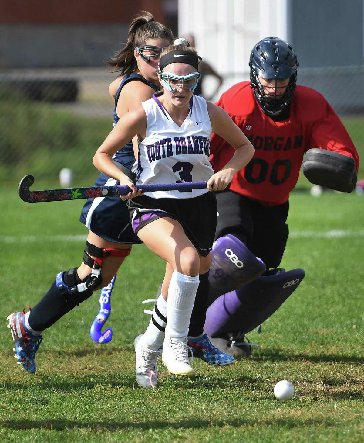 North Branford's Ava Galdenzi chases down the ball against Morgan on Oct. 13.