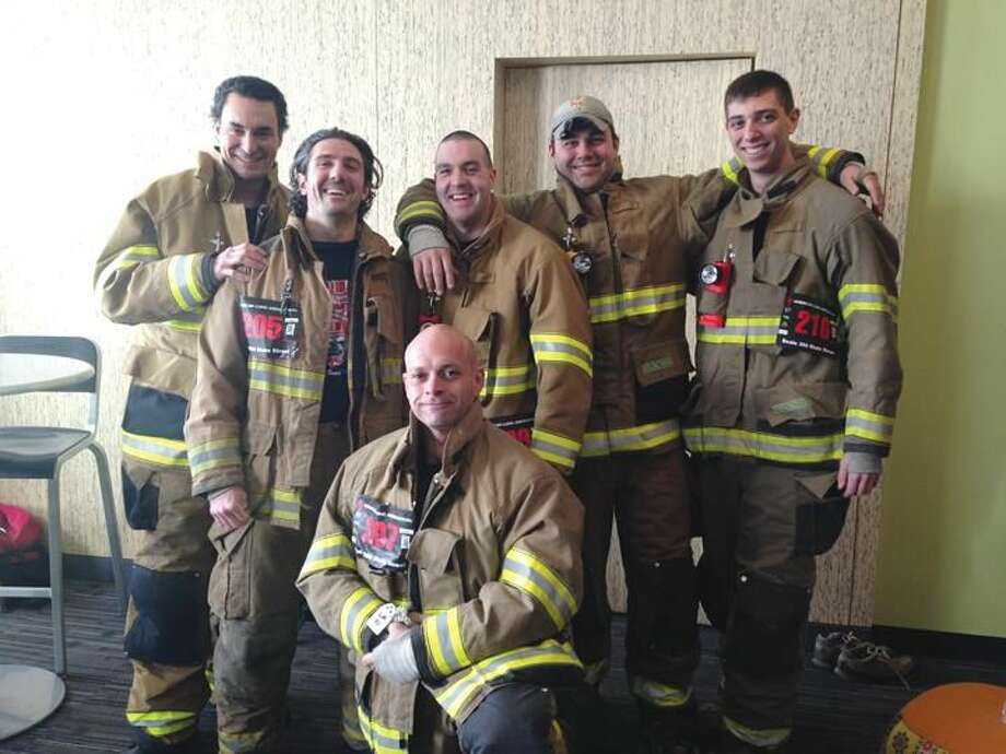 Submitted Photo by Tom Haggertty Back row from left to right are firefighters Lou Criscuolo III, Ron Prisco, Ben Fox, Tom Haggertty, and Chris Spoldi. In front is Jeff Haag.