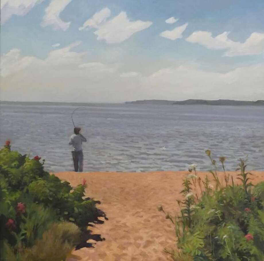 "Fishing, Fort Hale Park, New Haven (oil, 30"" x 30"")."