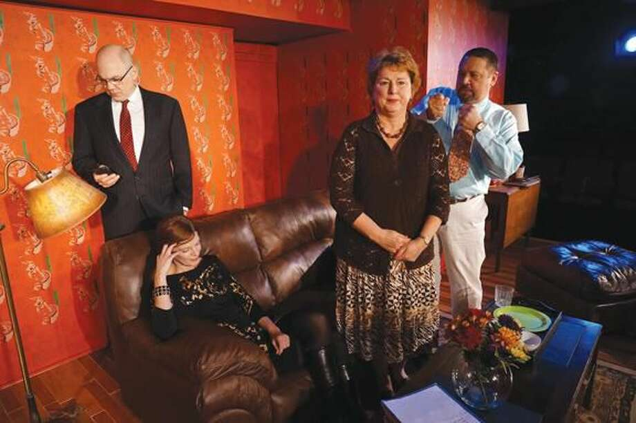 """Submitted Photo John Flaherty, Marty Bongfeldt, Cynthia Hannah and Jim Schilling in MTC MainStage's """"God of Carnage,"""" running through Feb, 16 in Westport."""