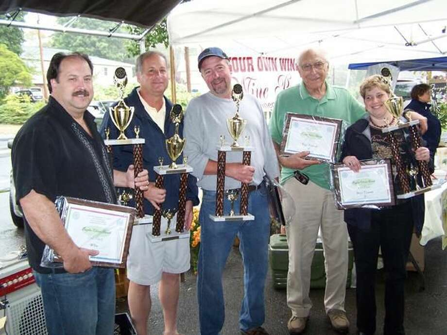 Submited Photo North Haven Rotary's Day of Wine & Roses' champions pose with awards: (left to right) Brian Testa, Alan Antonelli, Bill Dobie, Andrew Gambardella, and Maria Carofano.