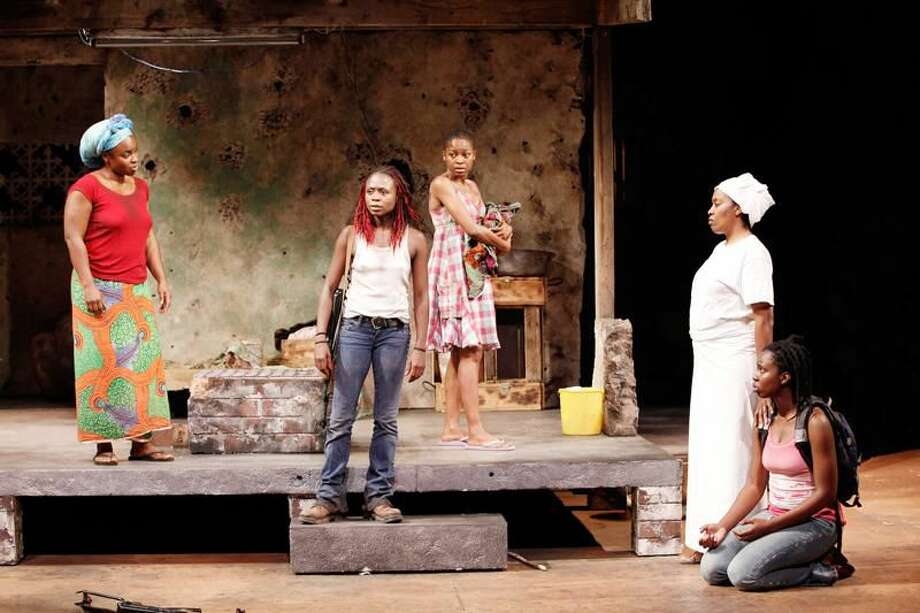 """Submitted Photo by Carol Rosegg Stacey Sargeant, Zainab Jah, Pascale Armand, Shona Tucker, and Adepero Oduye in """"Eclipsed"""" by Danai Gurira, directed by Liesl Tommy, at Yale Repertory Theatre."""